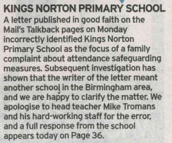 Untrue Article in the Birmingham Mail naming our school
